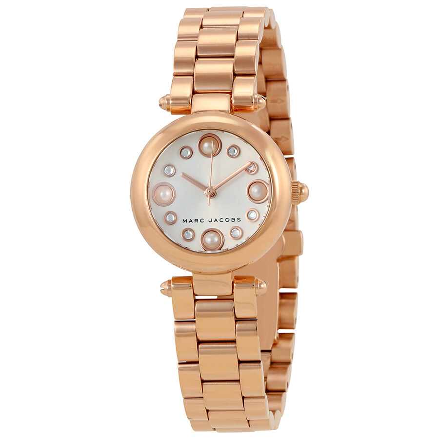 marc jacobs female marc jacobs dotty white sunray dial ladies rose gold watch mj3520