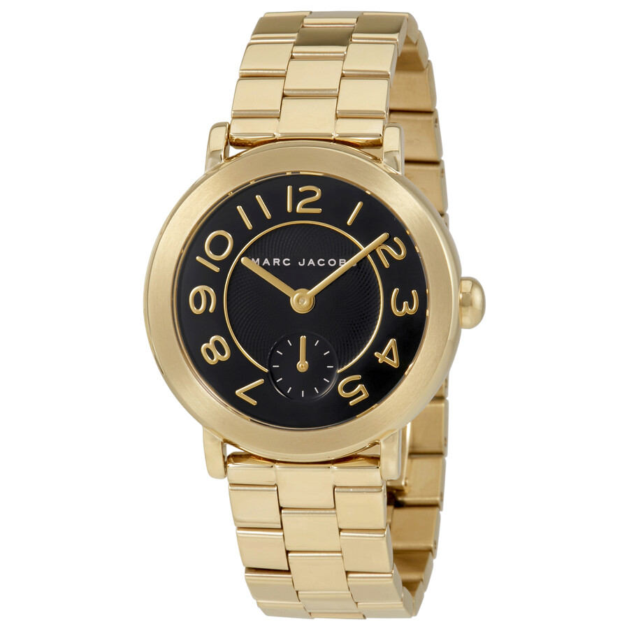 marc jacobs female marc jacobs riley black dial ladies gold tone watch mj3512