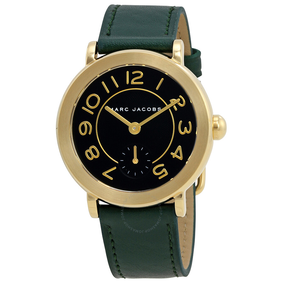 marc jacobs female marc jacobs riley black dial ladies leather watch mj1469
