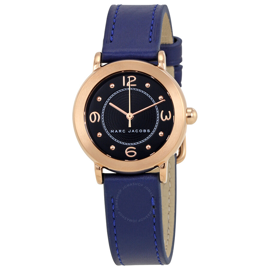 marc jacobs female marc jacobs riley black dial navy blue leather strap ladies watch mj1577