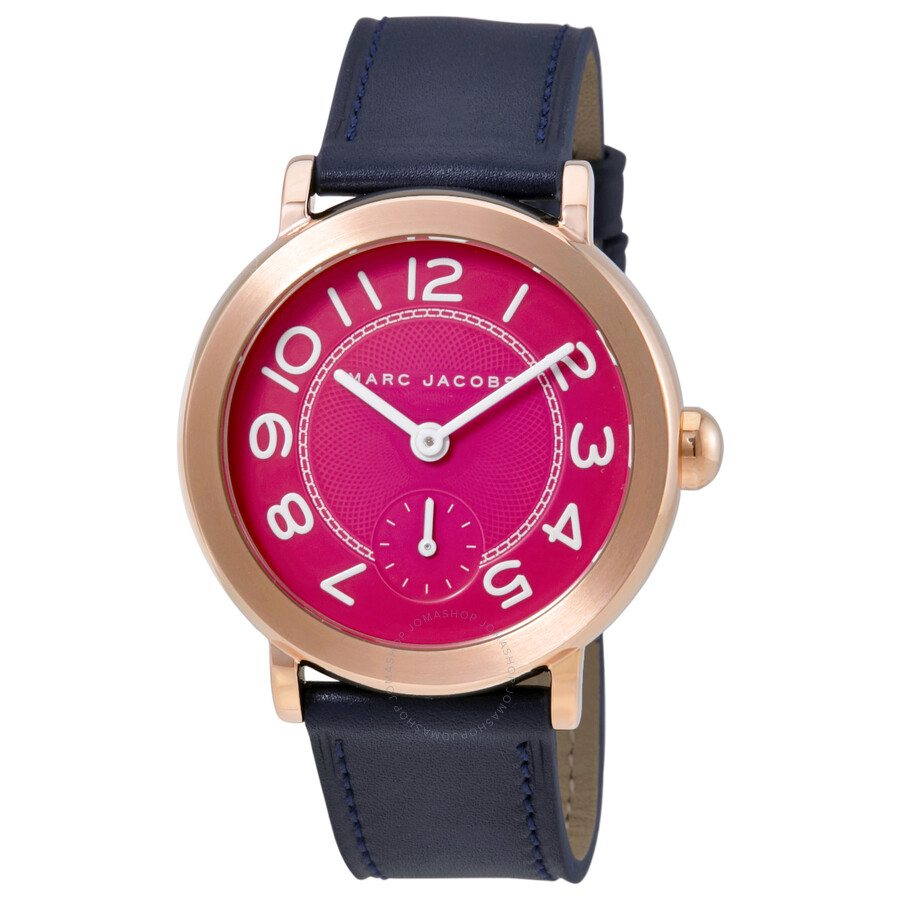 marc jacobs female marc jacobs riley fuchsia dial ladies leather watch mj1556