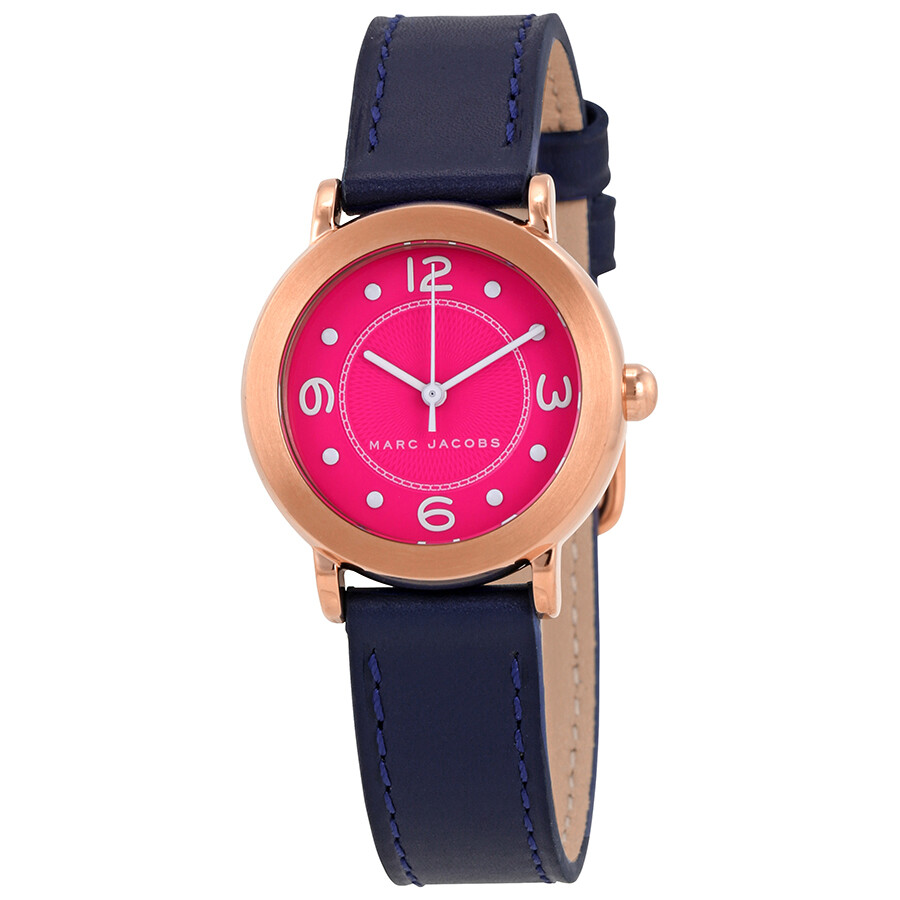 marc jacobs female marc jacobs riley fuchsia dial ladies leather watch mj1558