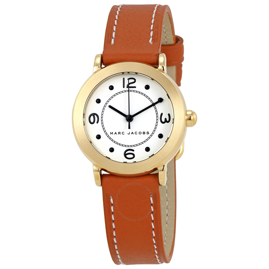 marc jacobs female marc jacobs riley silver dial ladies brown leather watch mj1576