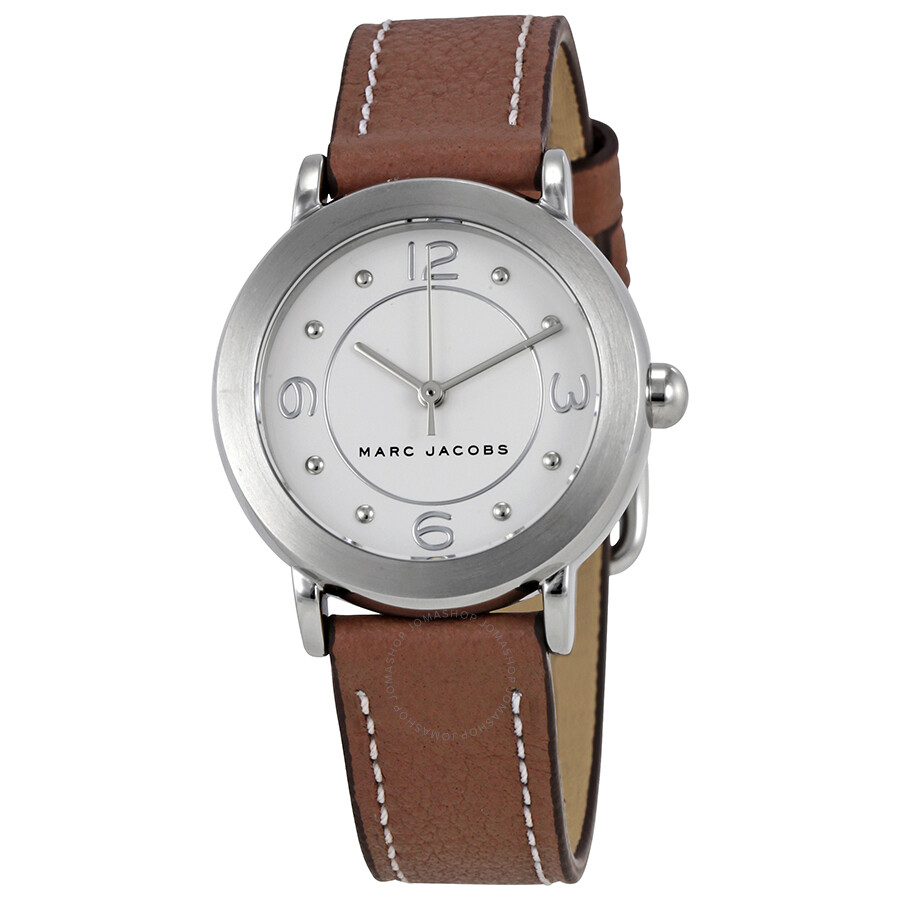 marc jacobs female marc jacobs riley silver dial ladies leather watch mj1472