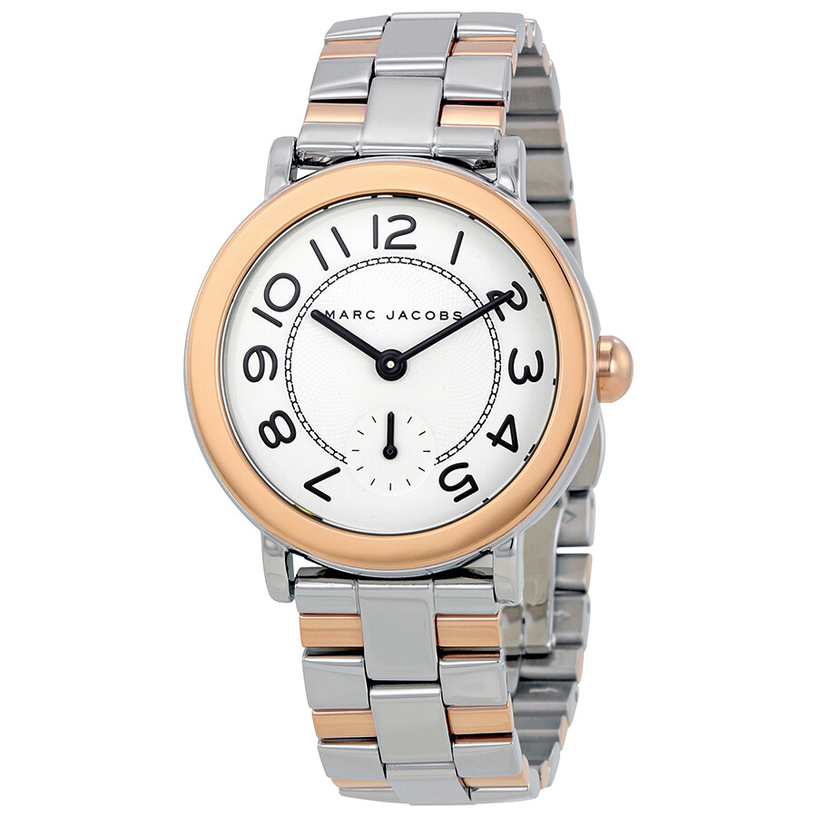 marc jacobs female marc jacobs riley silver dial ladies two tone watch mj3539