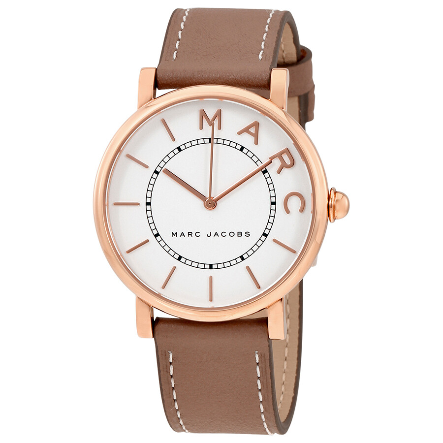 marc jacobs female marc jacobs roxy silver dial ladies cement leather watch mj1533