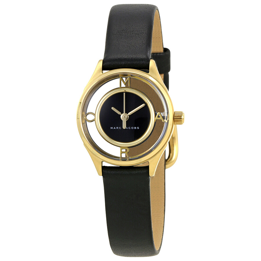 marc jacobs female marc jacobs tether black dial ladies leather watch mj1381