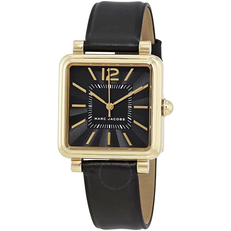 Marc Jacobs Vic Black Dial Black Leather Ladies Watch MJ1522