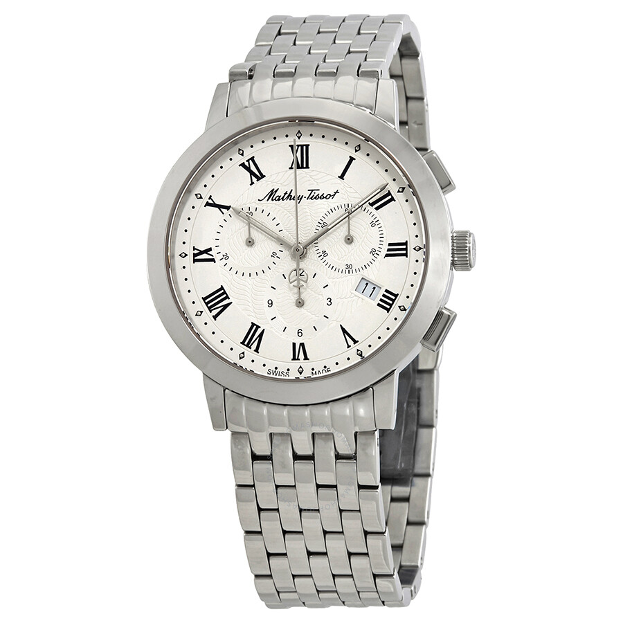 Mathey-Tissot Sport Classic White Dial Mens Chronograph Stainless Steel Watc..