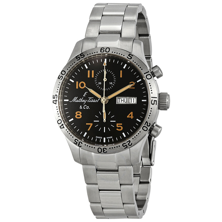 Mathey-Tissot Type 21 Chrono Automatic Chronograph Black Dial Mens Watch H1821CHATNO