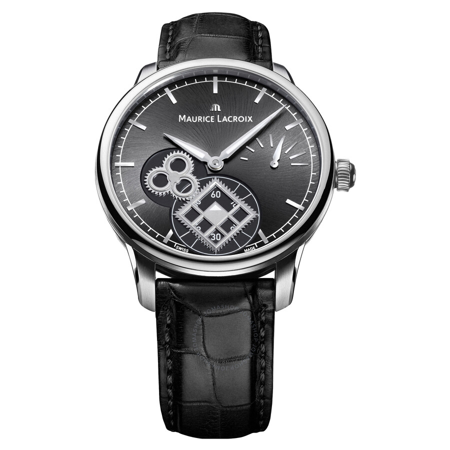 Maurice Lacroix Black Dial Black Leather Mens Automatic Watch MP7158-SS001-301