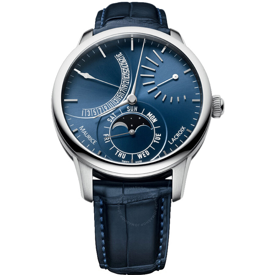 Maurice Lacroix Blue Dial Leather Automatic Mens Watch MP6528-SS001-430