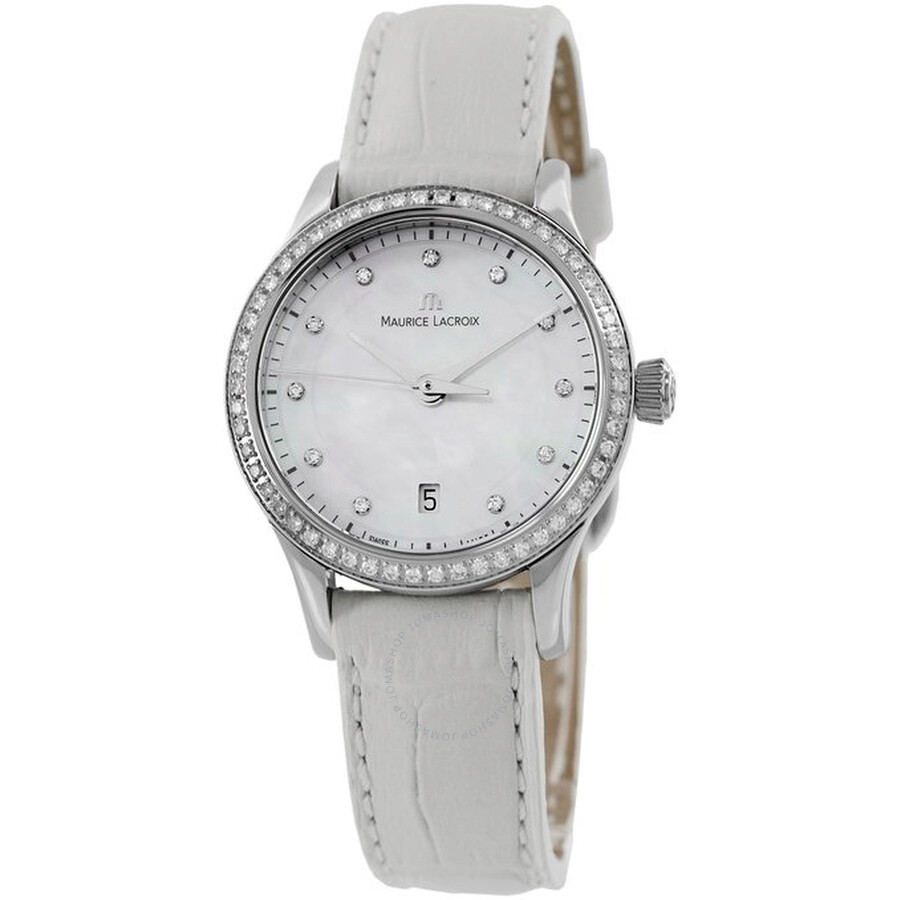 Maurice Lacroix Les Classiques Mother of Pearl White Leather Ladies Watch LC1113-SD501-170