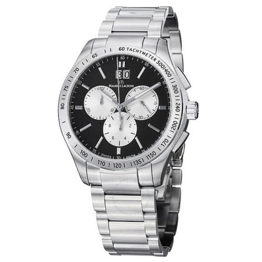 Maurice Lacroix Miros Silver and Black Dial Mens Watch MI1028-SS002-332
