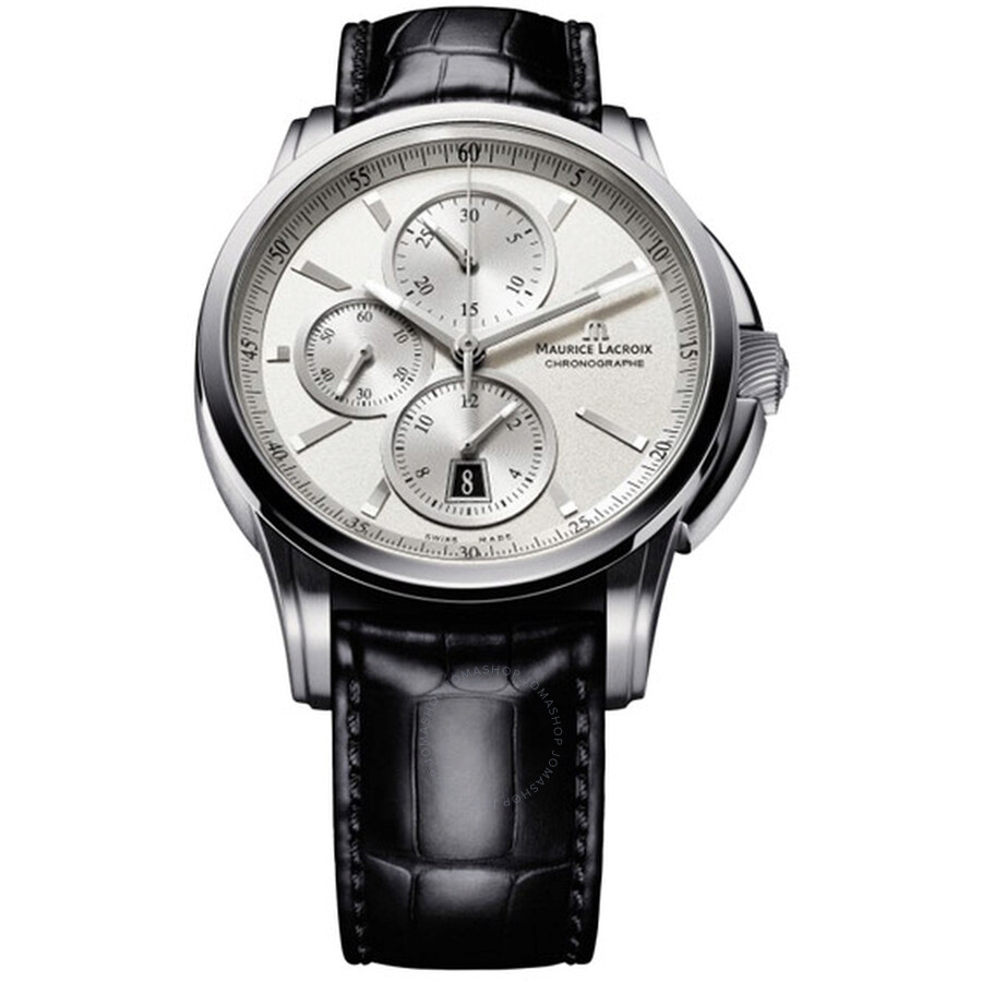 Maurice Lacroix Pontos Chronograph Silver Dial Black Leather Mens Watch PT6188-SS001-130