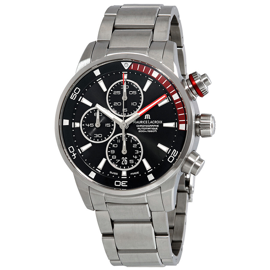 Maurice lacroix pontos s chronograph automatic black dial men 39 s watch pt6008 ss002 339 pontos for Maurice lacroix watches