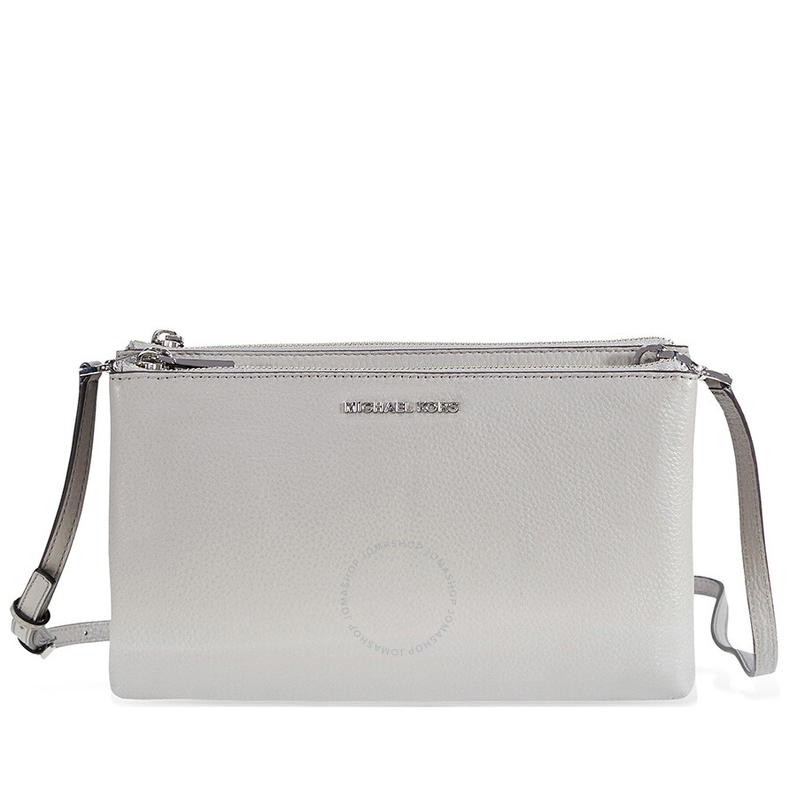 6224b2497fee Michael Kors Adele Double-Zip Crossbody Bag - Pearl Grey
