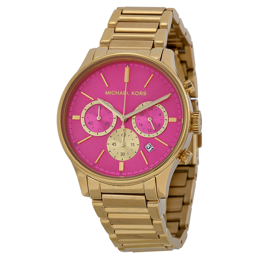 Michael Kors Bailey Chronograph Pink Dial Gold-tone Ladies Watch ...