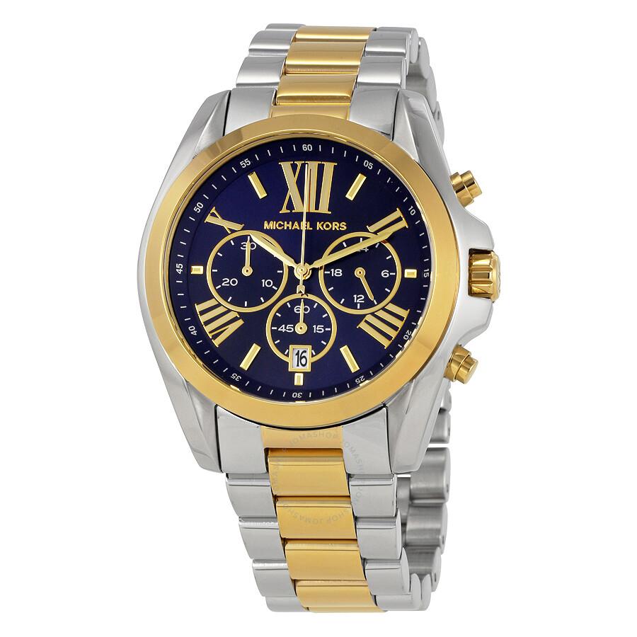 Michael Kors Bradshaw Chronograph Blue Dial Two Tone Las Watch Mk5976