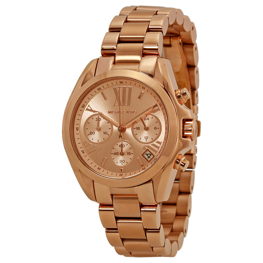 Michael Kors Bradshaw Chronograph Rose Dial Rose Gold Tone Ladies