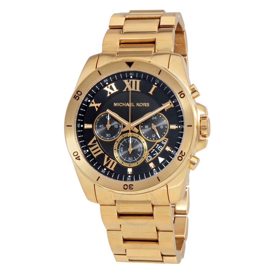 Michael kors brecken black dial chronograph men 39 s watch mk8481 brecken michael kors for Watches michael kors