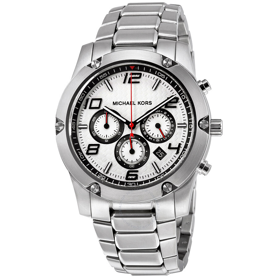 michael kors male 262715 michael kors caine silver dial chronograph stainless steel mens watch mk8472