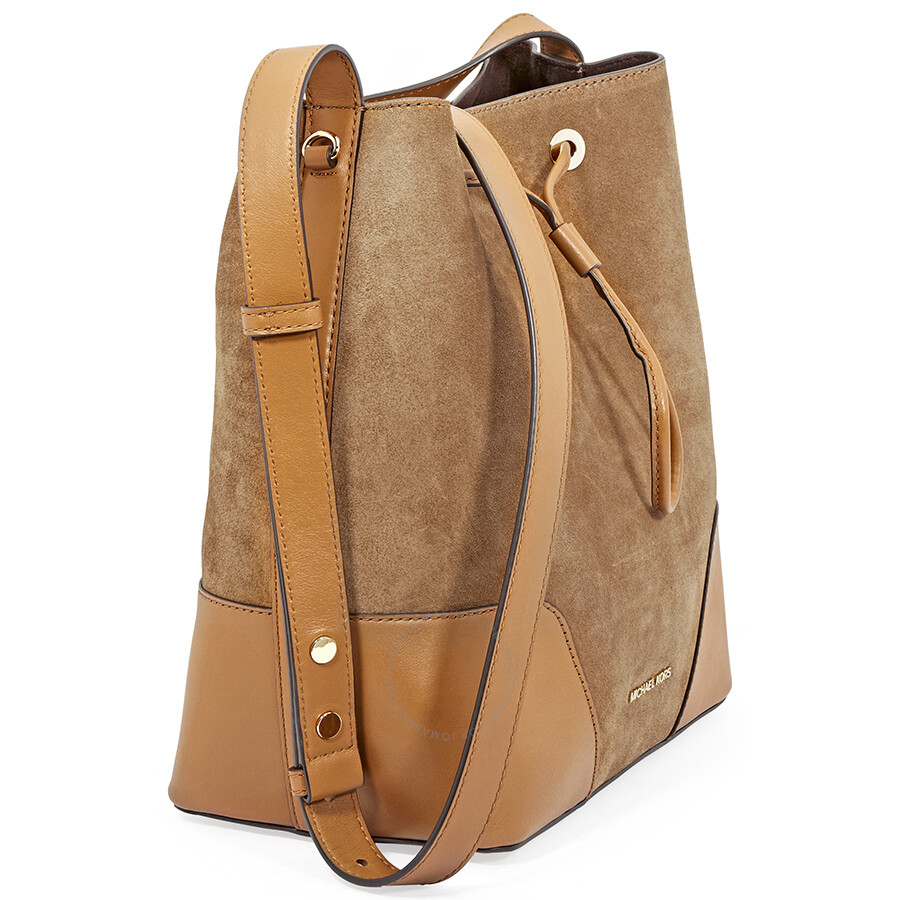 9fa3a56de2a31 Michael Kors Cary Medium Suede and Leather Bucket Bag - Caramel - Michael  Kors Handbags .