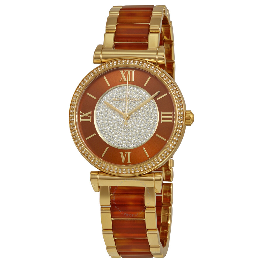 Michael Kors Catlin Crystal-set Amber Dial Gold-plated Tortoise-shell Aceate..