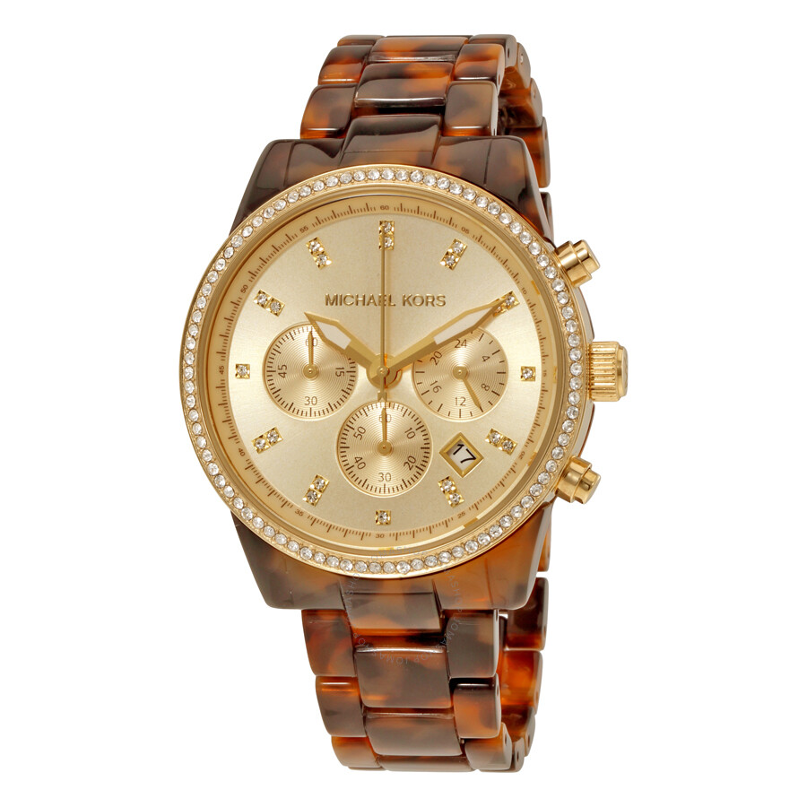 michael kors female 123919 michael kors champagne chronograph dial tortoise acrylic ladies watch mk6346