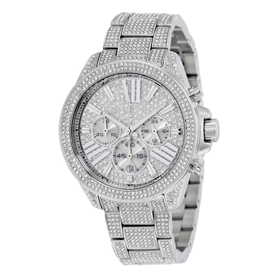 michael kors female michael kors chronograph crystal pave dial ladies watch mk6317