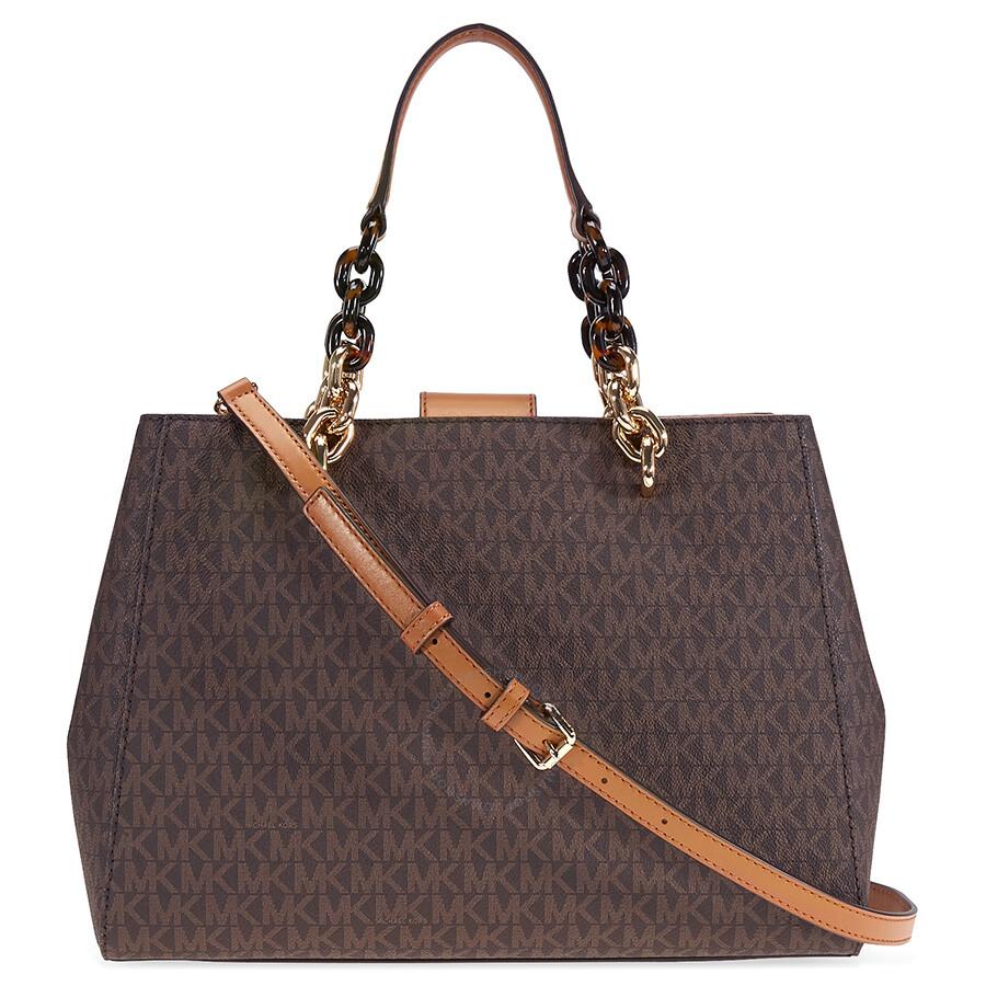 michael kors cynthia medium logo satchel brown cynthia michael kors handbags handbags. Black Bedroom Furniture Sets. Home Design Ideas