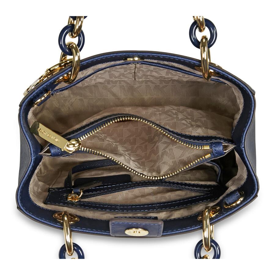 fa3d4277c6d0 ... wholesale michael kors cynthia small leather satchel navy 51e24 486d9