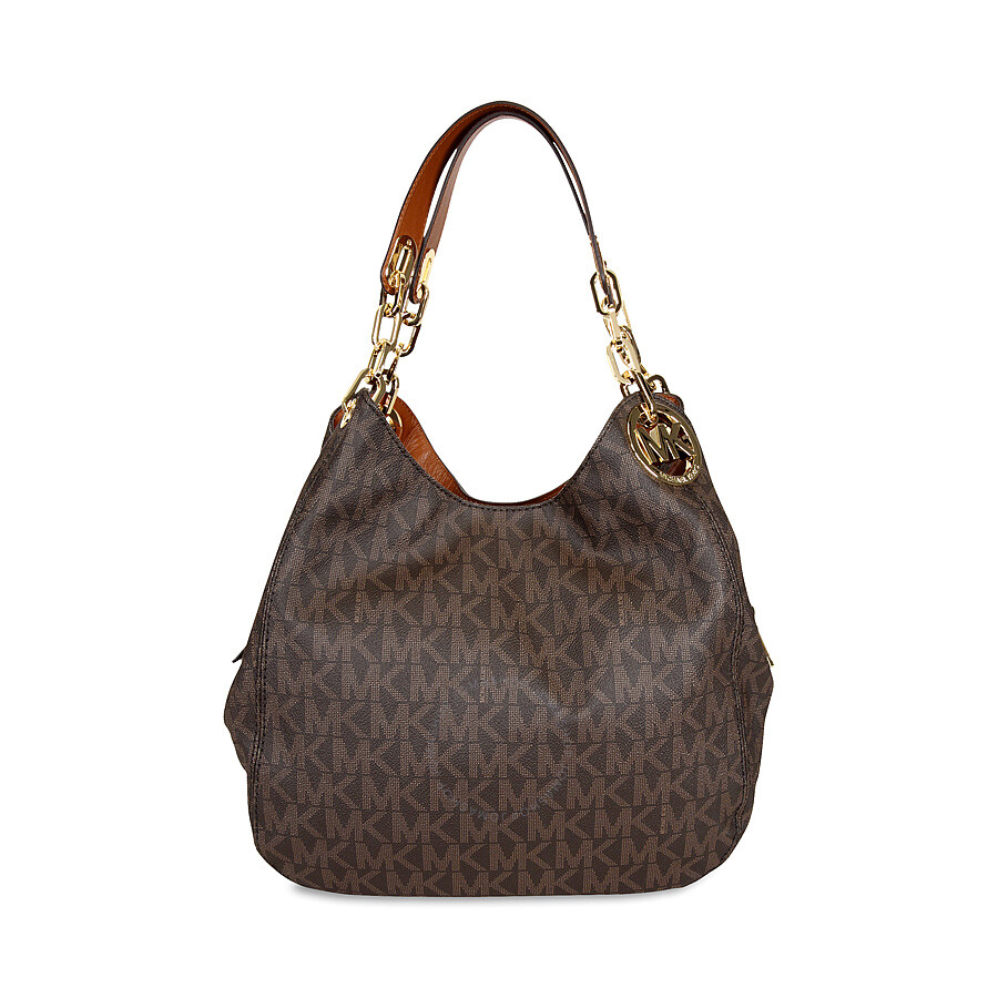 michael kors female 211468 michael kors fulton large logo shoulder bag brown