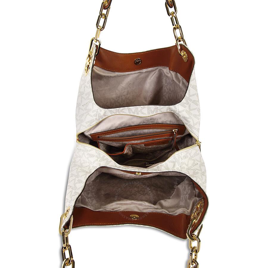 f9faa063fd29 ... free shipping michael kors fulton large logo shoulder bag vanilla 5f248  e93af