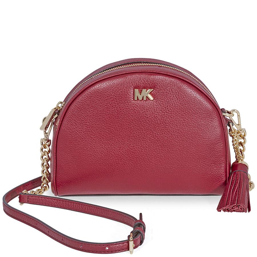 946414c7b79f ... coupon for michael kors ginny pebbled leather half moon crossbody bag  maroon fc2b8 ed201