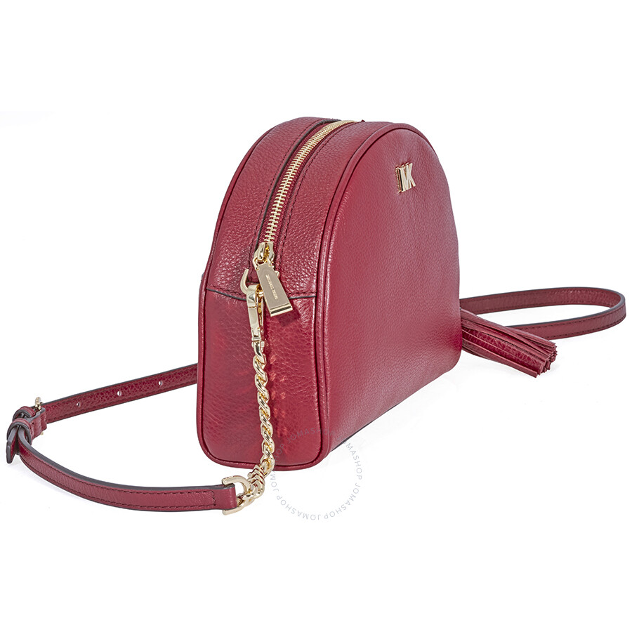4c17555e86c6 coupon for michael kors ginny pebbled leather half moon crossbody bag  maroon fc2b8 ed201
