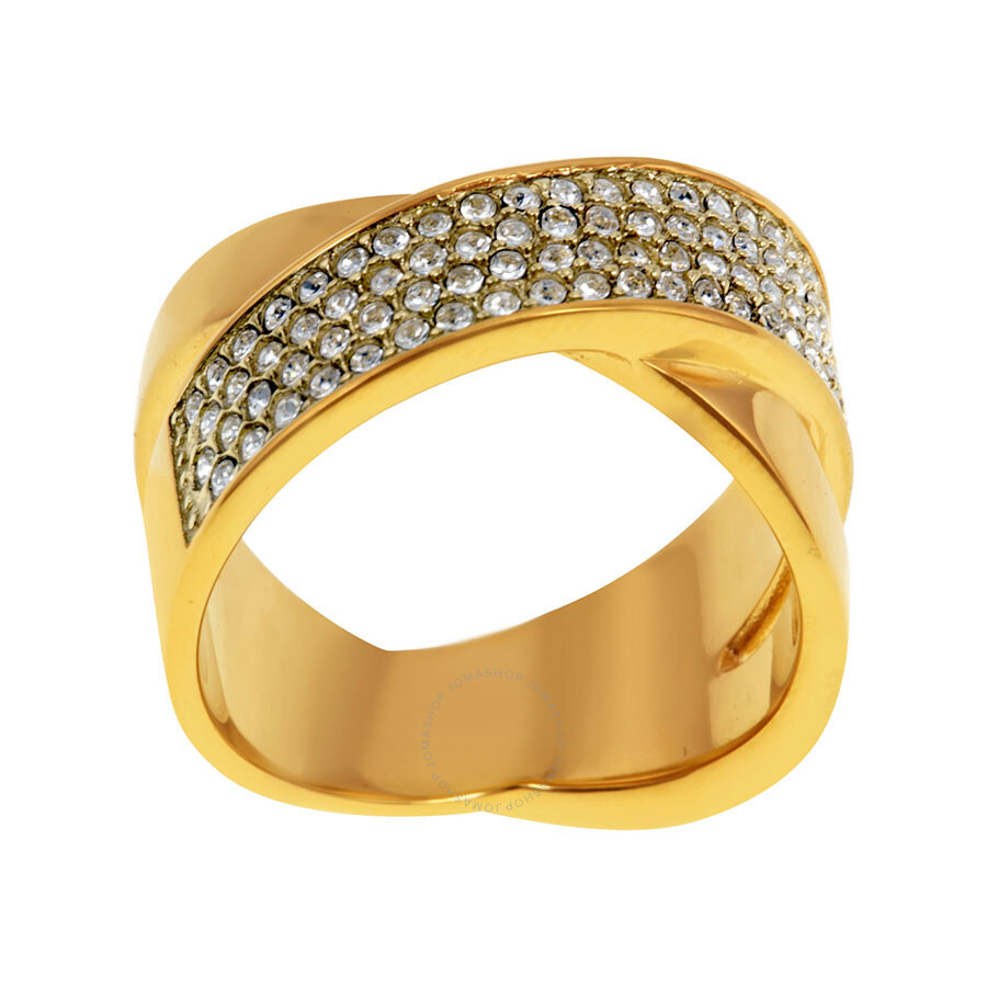 Michael Kors Gold Pvd Criss Cross Pave Ring Size 7