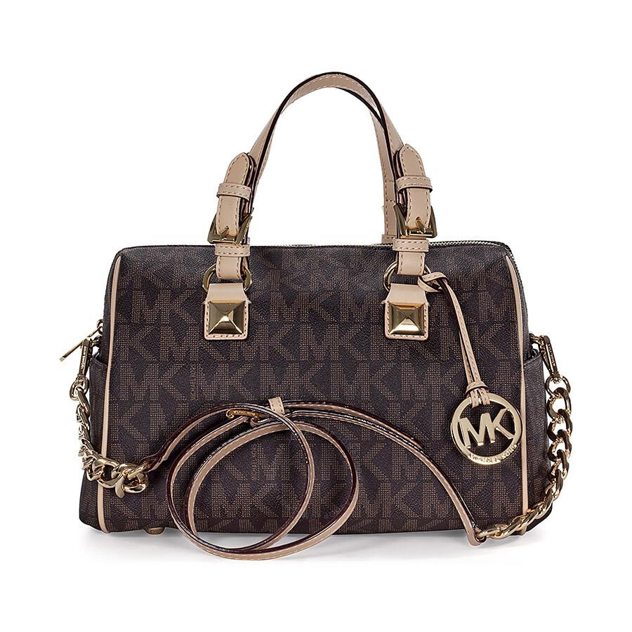ed1147d6b2df ... get michael kors grayson medium satchel handbag in brown pvc d5a35 b1dd6