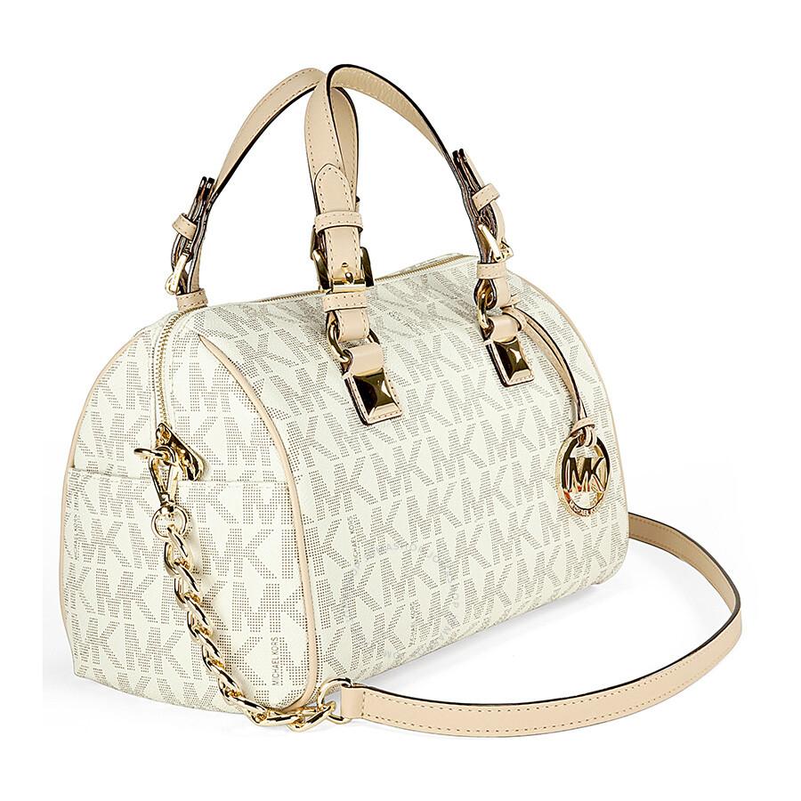 36d2a16e1422 ... australia michael kors grayson medium satchel handbag in vanilla pvc  cream c024c 9e139