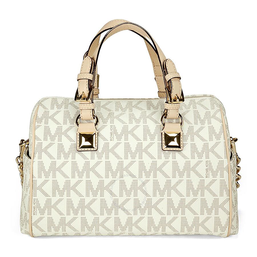 b14e36529753 ... australia michael kors grayson medium satchel handbag in vanilla pvc  cream 30fcb 76fbe
