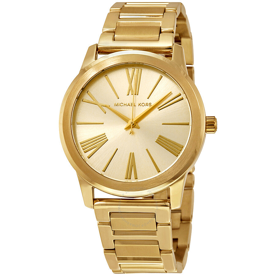 michael kors female 220612 michael kors hartman champagne dial goldtone ladies watch mk3490