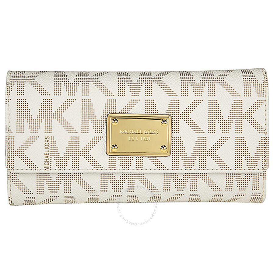 01307d18589c Michael Kors Jet Set Checkbook Wallet in Vanilla - Cream ...
