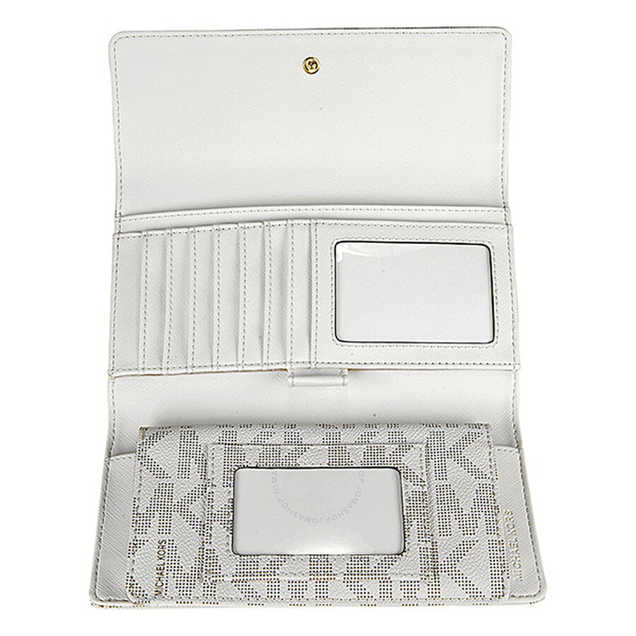 0ea8ed1aaf7f ... Michael Kors Jet Set Checkbook Wallet in Vanilla - Cream ...