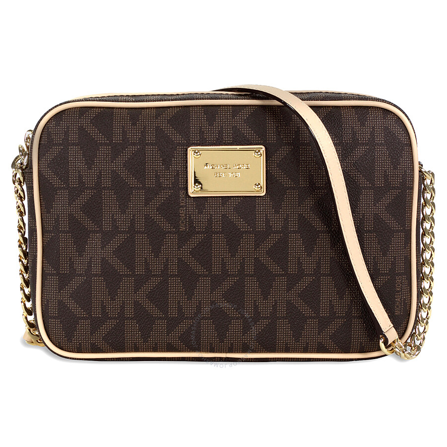 michael kors female 211468 michael kors jet set large crossbody brown