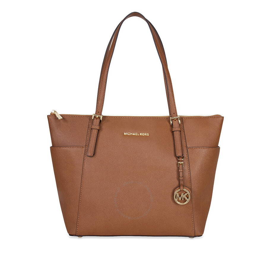 michael kors female michael kors jet set topzip saffiano leather tote in luggage large