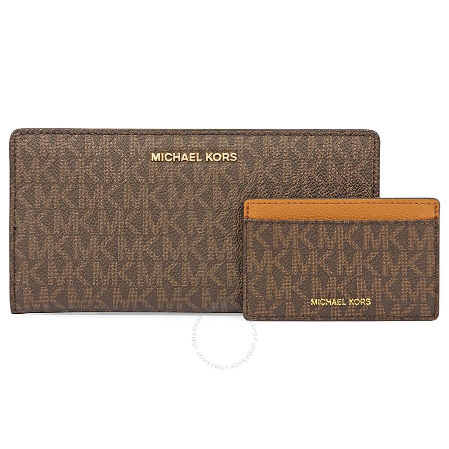 f3f9b316ac4e ... promo code michael kors jet set logo slim wallet brown acorn cb1b8 de8e3