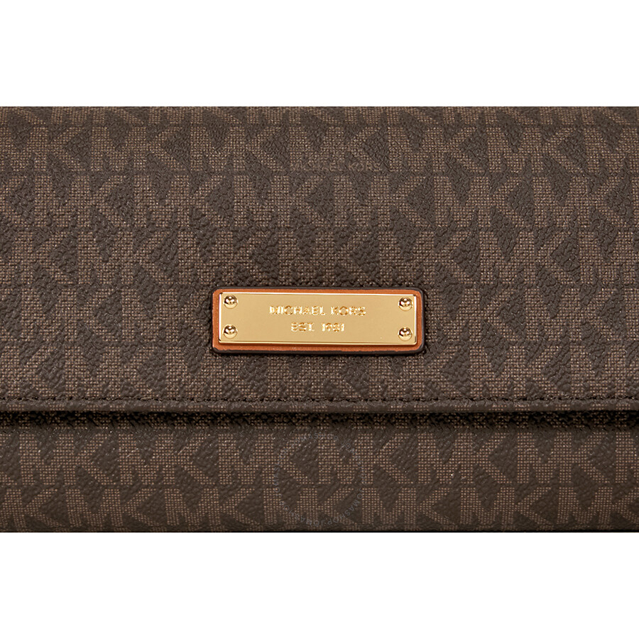1d0c81b8b9ce Michael Kors Jet Set PVC Checkbook Wallet - Brown ...