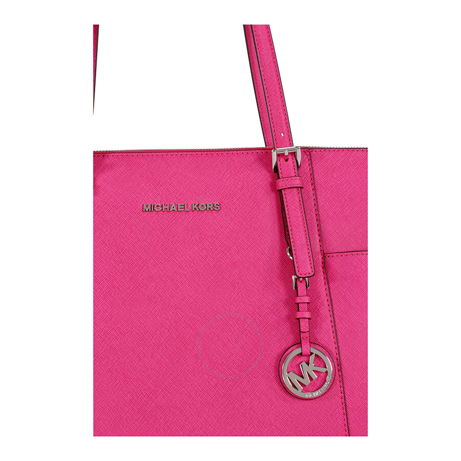 966085ae335a ... discount michael kors jet set top zip saffiano leather tote raspberry  5aabc 3b58b