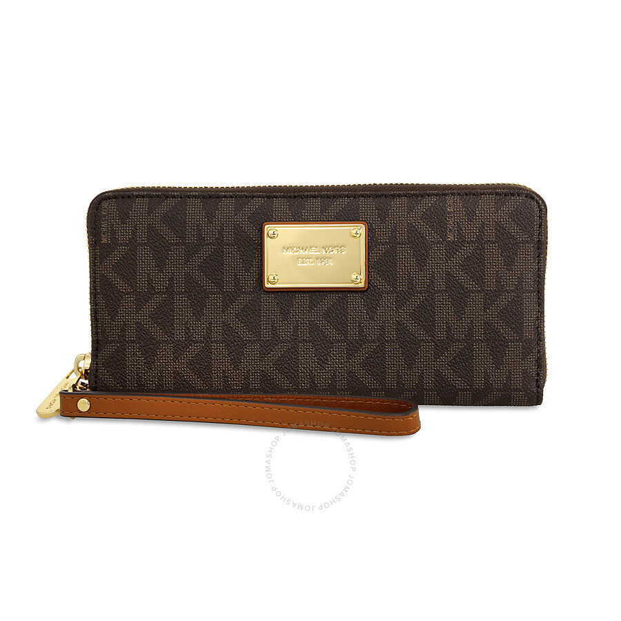 michael kors female 211468 michael kors jet set travel continental pvc wallet brown