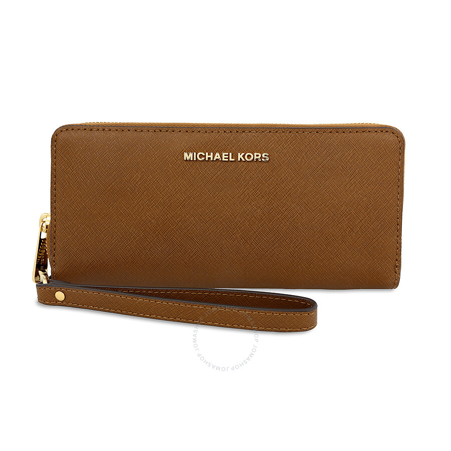 michael kors female michael kors jet set travel leather continental wallet luggage
